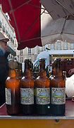 """Rennes, FRANCE. General View GV. Rennes weekly regional market. Brittany,<br /> <br /> """"Sainte Colombe Cider"""", sold from stalls in the open and covered market  <br /> <br /> Saturday  26/04/2014 <br /> <br /> © Peter SPURRIER, <br /> <br /> NIKON CORPORATION  NIKON D700  f7.1  1/250sec  24mm  2.5MB"""