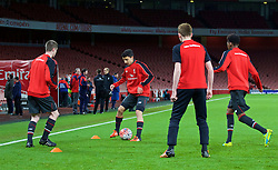 LONDON, ENGLAND - Friday, March 4, 2016: Liverpool players warm up before the FA Youth Cup 6th Round match against Arsenal at the Emirates Stadium. (Pic by Paul Marriott/Propaganda)