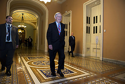 July 27, 2017 - Washington, District Of Columbia, USA - Senate Majority Leader Sen. MITCH MCCONNELL (R-KY) leaves the senate floor after a health care vote. The senate will have two more votes tonight. Senate republicans hope to pass a 'skinny repeal' of the Affordable Care Act tonight. (Credit Image: © Alex Edelman via ZUMA Wire)