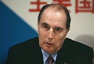 Fran&ccedil;ois Mitterrand at a press conference of leaders at the Economic Summit in Tokyo on May 6, 1986.<br />Photo by Dennis Brack