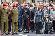 Veterans and descendants march past. A commemoration in London to mark the Centenary of the Gallipoli Campaign 25 April 2015 at the Cenotaph on Whitehall, Westminster. Descendants of those who fought in the campaign also march past, led by military personnel, as part of the ceremony. This is an addition to the usual annual ceremony organized byvThe High Commissions of Australia and New Zealand.