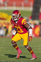 03 November 2012: Cornerback (21) Nickell Robey of the USC Trojans in game action against the Oregon Ducks during the first half of Oregon's  62-51victory over USC at the Los Angeles Memorial Coliseum in Los Angeles, CA.