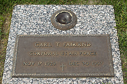 31 August 2017:   Veterans graves in Park Hill Cemetery in eastern McLean County.<br /> <br /> Carl T Fairand Corporal US Air Force  Nov 17 1929 Dec 30 1997