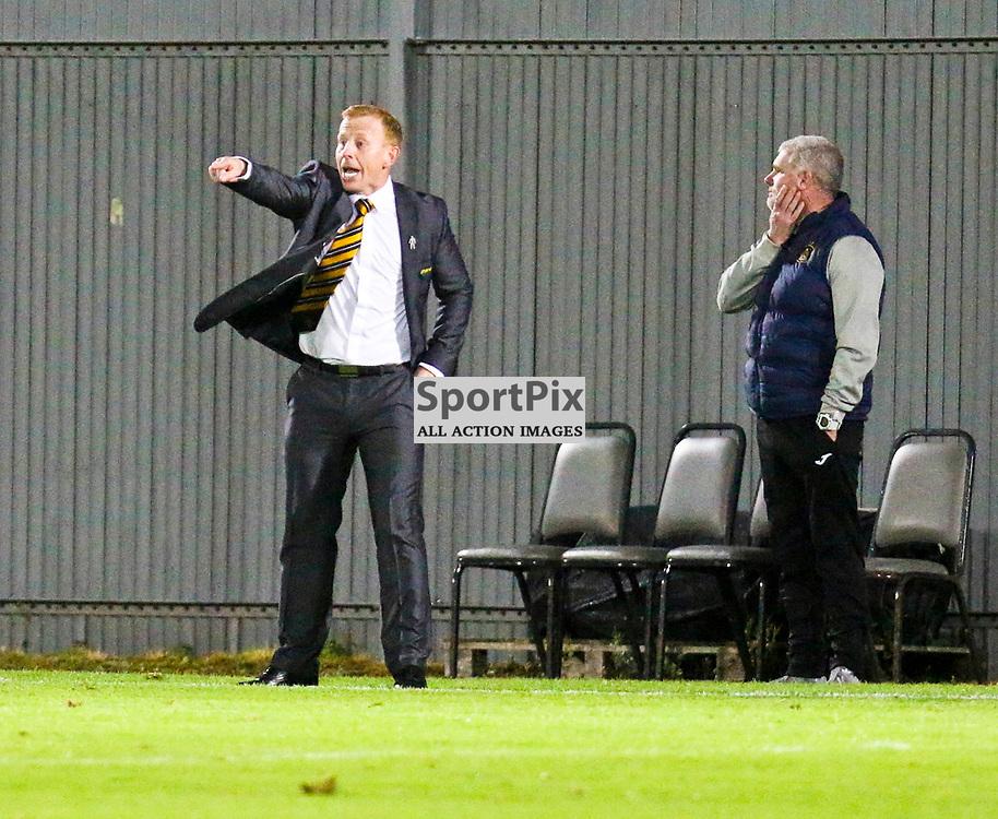Stevie Aitken shouts instructions  during the Dumbarton v Stranraer Irn Bru Cup round three 06 October 2017<br /> <br /> <br /> <br /> <br /> <br /> (c) Andy Scott | SportPix.org.uk