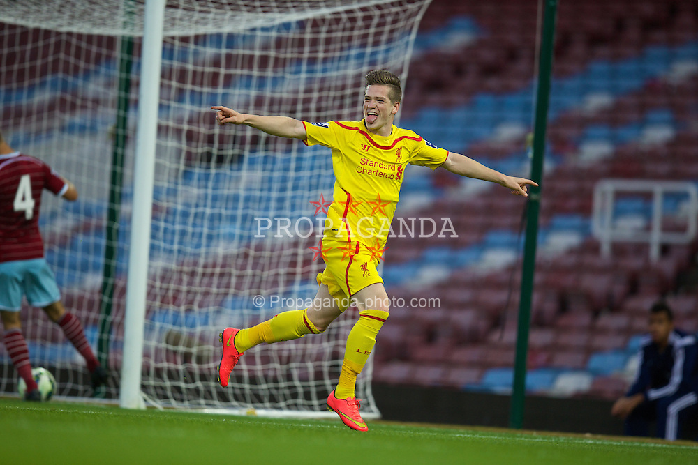 UPTON PARK, ENGLAND - Friday, September 12, 2014: Liverpool's Ryan Kent celebrates scoring the first goal against West Ham United during the Under 21 FA Premier League match at Upton Park. (Pic by David Rawcliffe/Propaganda)