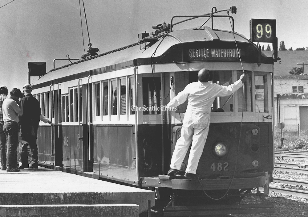 A trolley from Australia was installed on Seattle's waterfront on May 28, 1982 the day before the inaugural service of the streetcar. The waterfront streetcar service ended in 2005. <br />