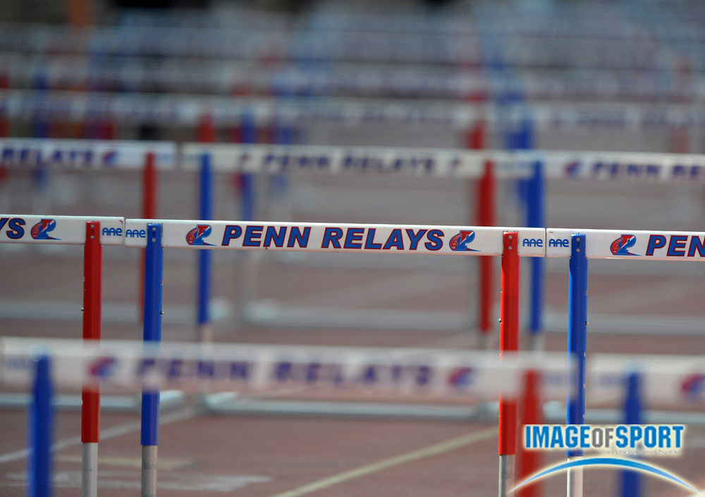 Apr 27, 2012; Philadelphia, PA, USA; General view of hurdles at the 118th Penn Relays at Franklin Field.