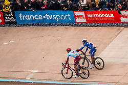 Philippe Gilbert (BEL) of Deceuninck - Quick Step (WT) and Nils Politt (GER) of Team Katusha - Alpecin (WT) during the 2019 Paris-Roubaix (1.UWT) with 257 km racing from Compiègne to Roubaix, France. 14th april 2019. Picture: Pim Nijland | Peloton Photos  <br /> <br /> All photos usage must carry mandatory copyright credit (Peloton Photos | Pim Nijland)