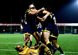 Worcester Warriors celebrate Max Stelling scoring a try - Mandatory by-line: Robbie Stephenson/JMP - 04/11/2016 - RUGBY - Sixways Stadium - Worcester, England - Worcester Warriors v Bristol Rugby - Anglo Welsh Cup