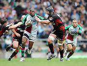 Twickenham, GREAT BRITAIN, Quins, Ugo MONYE attempts to hand off Steve BORTHWICK, as he goes for the gap, between left Adam POWELL and right Steve BORTHWICK, during the Guinness Premiership match,  Saracens vs Harlequins, at Twickenham Stadium, Surrey on Sat 06.09.2008. [Photo, Peter Spurrier/Intersport-images]