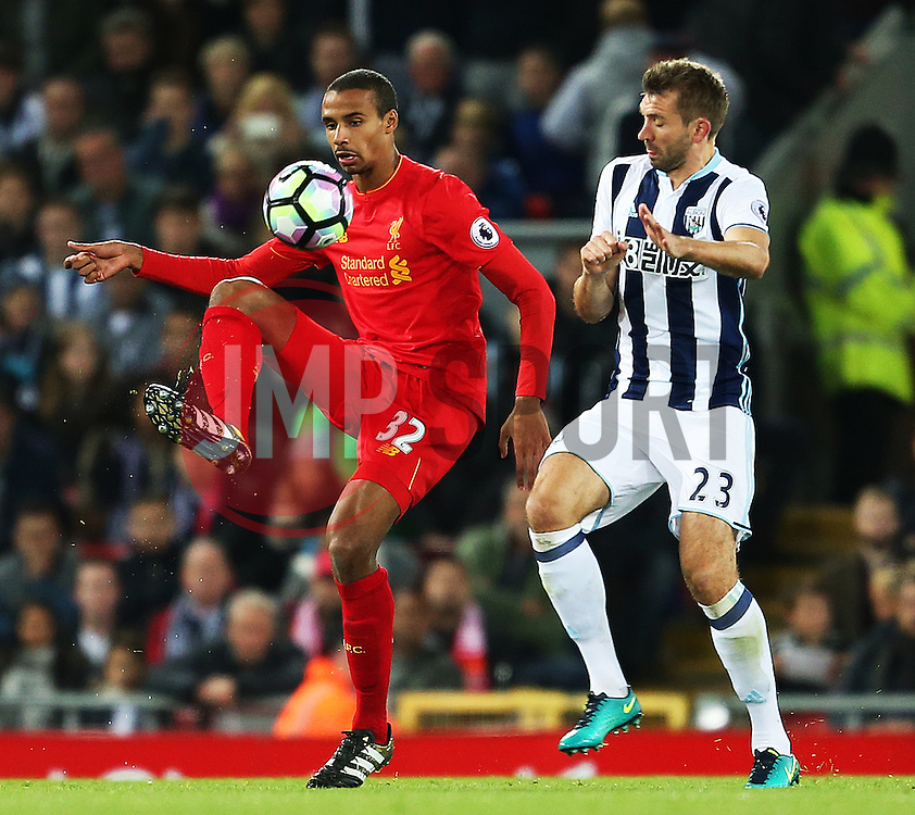 Joel Matip of Liverpool and Gareth McAuley of West Bromwich Albion - Mandatory by-line: Matt McNulty/JMP - 22/10/2016 - FOOTBALL - Anfield - Liverpool, England - Liverpool v West Bromwich Albion - Premier League
