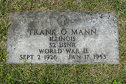 31 August 2017:   Veterans graves in Park Hill Cemetery in eastern McLean County.<br /> <br /> Frank O Mann  Illinois S2 USNR World War II Sept 2 1926 Jan 17 1953