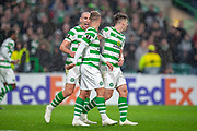 Scott Brown(#8) of Celtic FC congratulates Leigh Griffiths (#9) of Celtic FC after Griffiths scores the only goal during the UEFA Europa League group stage match between Celtic FC and Rosenborg BK at Celtic Park, Glasgow, Scotland on 20 September 2018.