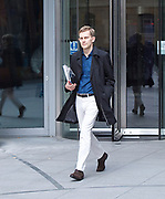 Andrew Marr Show Show <br /> at the BBC, Broadcasting House, London, Great Britain <br /> 23rd July 2017 <br /> <br /> Seumas Milne<br /> leaves BBC on his own after Jeremy Corbyn interview <br /> <br /> <br /> Photograph by Elliott Franks <br /> Image licensed to Elliott Franks Photography Services