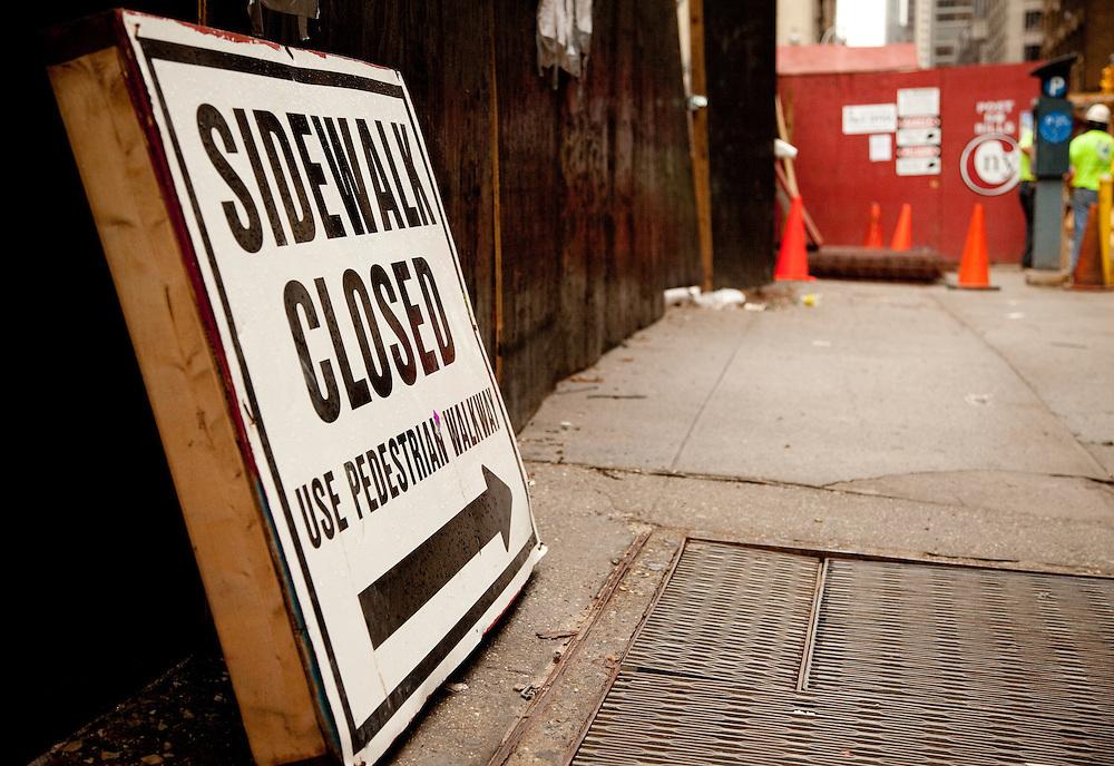 250 W 55th St<br /> <br /> Sidewalk closed