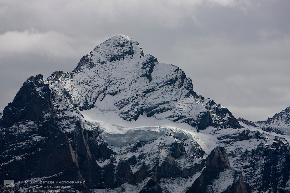 The icy peak of the Wetterhorn in the Swiss Alps above Grindelwald