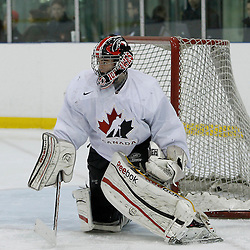 OAKVILLE, ON - Oct 28 : 2013 World Junior A Challenge / Defi Modial Junior A 2013. Ben Blacker #30 of Team Canada East, Team White / d'Équipe Canada Est, l'équipe Blanc.<br /> (Photo by Tim Bates / OJHL Images)