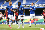 Goal - Everton forward Moise Kean (27) celebrates after scoring 1-1  during the Premier League match between Everton and Bournemouth at Goodison Park, Liverpool, England on 26 July 2020.