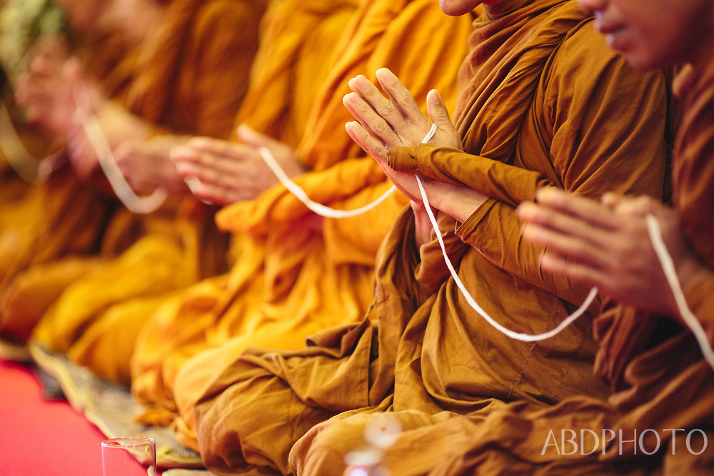 monks in Mae Sariang by Yuam River in Mae Hong Son Province, northern Thailand