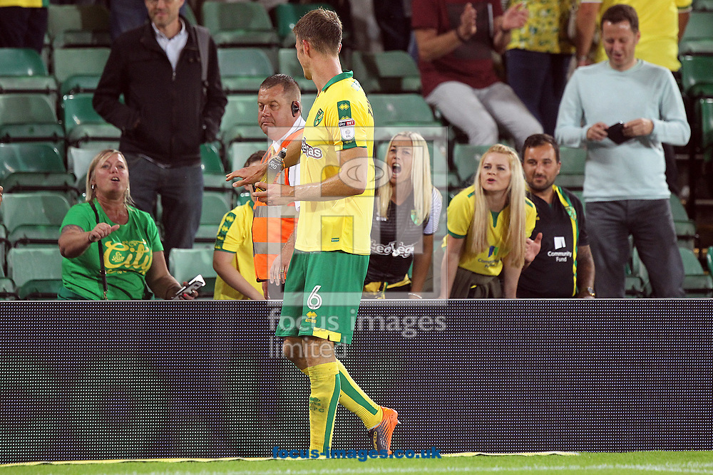 Christoph Zimmermann of Norwich stops for photos and to chat with the fans at the end of the Sky Bet Championship match at Carrow Road, Norwich<br /> Picture by Paul Chesterton/Focus Images Ltd +44 7904 640267<br /> 16/08/2017