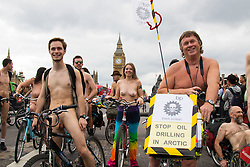 London, June 13th 2015. Hundreds of London cyclists take part in the World Naked Bike Ride, aimed at raising awareness about the safety of cyclists and calling for action on climate change. PICTURED:   // Contact for payment details: Paul Davey -  paul@pauldaveycreative.co.uk Tel: 07966016296.