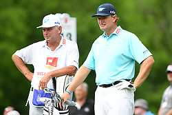 May 3, 2019 - Charlotte, NC, U.S. - CHARLOTTE, NC - MAY 03:  Ernie Els stands on the 13th tee box with his caddie in round two of the Wells Fargo Championship on May 03, 2019 at Quail Hollow Club in Charlotte,NC. (Photo by Dannie Walls/Icon Sportswire) (Credit Image: © Dannie Walls/Icon SMI via ZUMA Press)