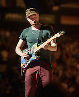 Coldplay performing at The Boston Garden.