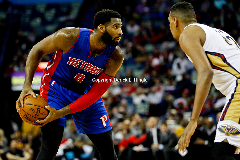 Mar 1, 2017; New Orleans, LA, USA; Detroit Pistons center Andre Drummond (0) is defended by New Orleans Pelicans center Alexis Ajinca (42) during the first quarter of a game at the Smoothie King Center. Mandatory Credit: Derick E. Hingle-USA TODAY Sports