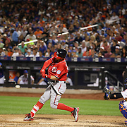 Bryce Harper,  Washington Nationals, batting during the New York Mets Vs Washington Nationals, MLB regular season baseball game at Citi Field, Queens, New York. USA. 1st August 2015. (Tim Clayton for New York Daily News)