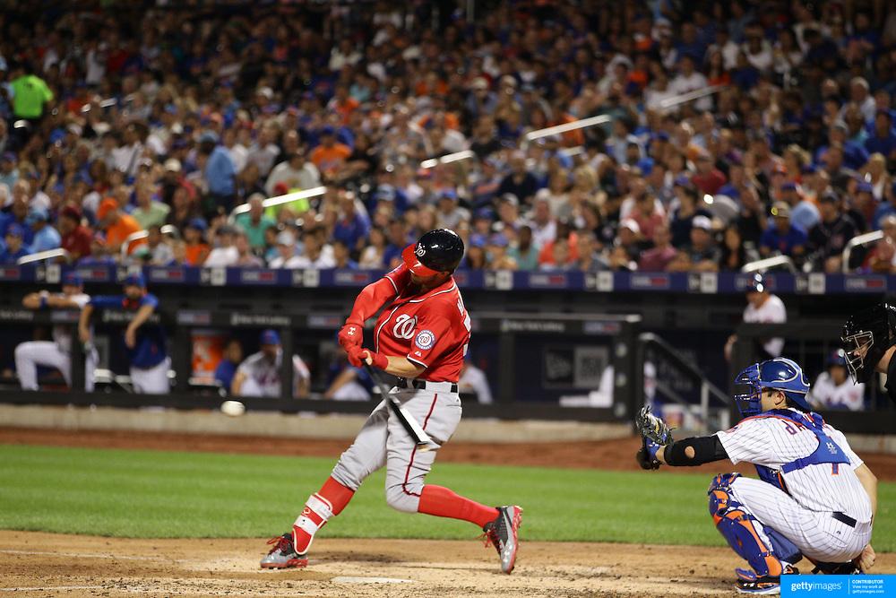 Bryce Harper,  Washington Nationals, batting during the New York Mets Vs Washington Nationals, MLB regular season baseball game at Citi Field, Queens, New York. USA. 1st August 2015. (Tim Clayton for New York Daily News)