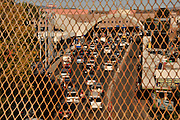 Vehicles in Nogales, Sonora, Mexico, approach the Dennis DeConcinni Port of Entry customs inspection station, which is located in Nogales, Arizona, USA.