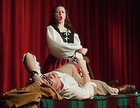 "Jeff Douglas (John Hammond) with Meg Brockie (Emily Paronto) during dress rehearsal for ""Brigadoon"" at Laconia High School Wednesday afternoon.  (Karen Bobotas/for the Laconia Daily Sun)"