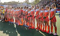 AMSTELVEEN -   line up Oranje   voor de halve finale  Nederland-Duitsland van de Pro League hockeywedstrijd dames. COPYRIGHT KOEN SUYK