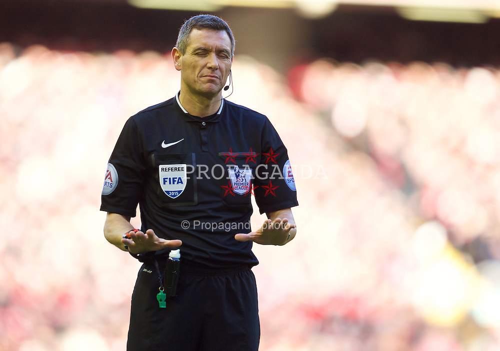 LIVERPOOL, ENGLAND - Saturday, January 31, 2015: Referee Andre Marriner during the Premier League match between Liverpool and West Ham United at Anfield. (Pic by David Rawcliffe/Propaganda)