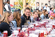 Celebrity Chef Curtis Stone, center, teams up with Ocean Spray to host a Thanksgiving dinner at their Big Apple Bog in celebration of the cooperative's 85th anniversary, Tuesday, Nov. 3, 2015 at Rockefeller Center in New York.   Find the perfect Thanksgiving plate and holiday inspiration at www.OceanSpray.com/PlanIt.  (Photo by Diane Bondareff/AP Images for Ocean Spray)