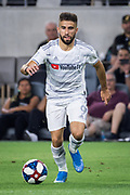 LAFC forward Diego Rossi (9) moves the ball during an MLS soccer match against the San Jose Earthquakes. LAFC Defeated the Earthquakes 4-0 on Wednesday, Aug. 21, 2019, in Los Angeles. (Ed Ruvalcaba/Image of Sport)