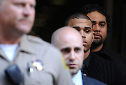 Singer Chris Brown leaves the Los Angeles Superior Court for his arraignment for the alleged assault of his girlfriend Rihanna, in Los Angeles, CA, USA on April 6, 2009. Brown is charged with felony counts of assault and making criminal threats. Photo by Lionel Hahn/ABACAPRESS.COM  | 183665_006