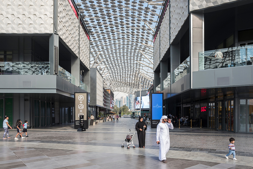 DUBAI, UAE — JANUARY 19, 2017: Dubai City Walk is a new outdoor retail complex, near Downtown Dubai.