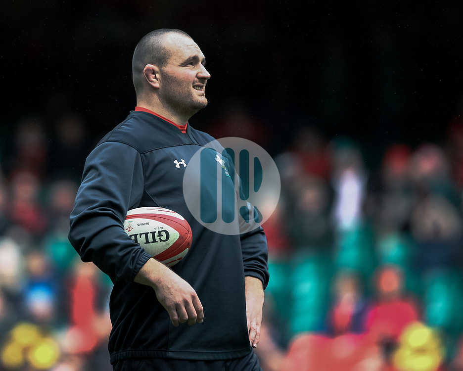 Ken Owens of Wales during the pre match warm up<br /> <br /> Photographer Simon King/Replay Images<br /> <br /> Six Nations Round 5 - Wales v Ireland - Saturday 16th March 2019 - Principality Stadium - Cardiff<br /> <br /> World Copyright © Replay Images . All rights reserved. info@replayimages.co.uk - http://replayimages.co.uk