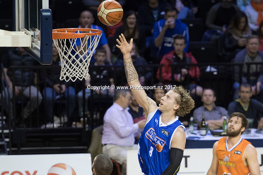 Saints' Joshua Duinker jumps to shoot during the NBL Wellington Saints vs Southland Sharks basketball match at the TSB Arena in Wellington on Friday the 19th of March 2017. Photo by Marty Melville / www.Photosport.nz