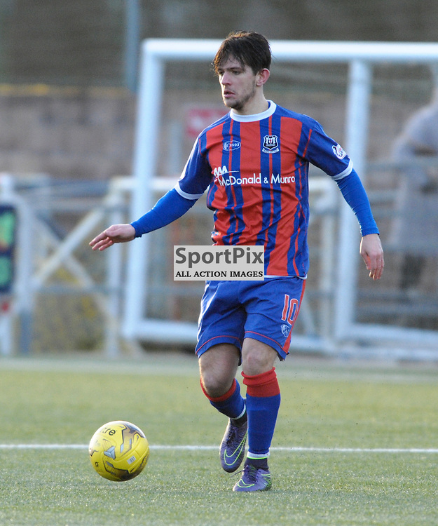 Dylan Easton (Elgin City, blue &amp; red) <br /> <br /> Annan Athletic v Elgin City, SPFL League 2, 30th January 2016<br /> <br /> (c) Alex Todd | SportPix.org.uk