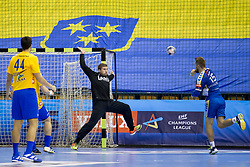 Urban Lesjak of RK Celje Pivovarna Lasko and Mateusz Jachlewski of PGE Vive Kielce during handball match between RK Celje Pivovarna Lasko and PGE Vive Kielce in Group Phase A+B of VELUX EHF Champions League, on September 30, 2017 in Arena Zlatorog, Celje, Slovenia. Photo by Urban Urbanc / Sportida