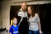 AFC Wimbledon Midfielder Dean Parrett (18) meets the match day mascot and her mother after the EFL Sky Bet League 1 match between AFC Wimbledon and Fleetwood Town at the Cherry Red Records Stadium, Kingston, England on 30 March 2018. Picture by Stephen Wright.