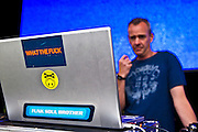 Fatboy Slim getting prepared before the Rockness concert.
