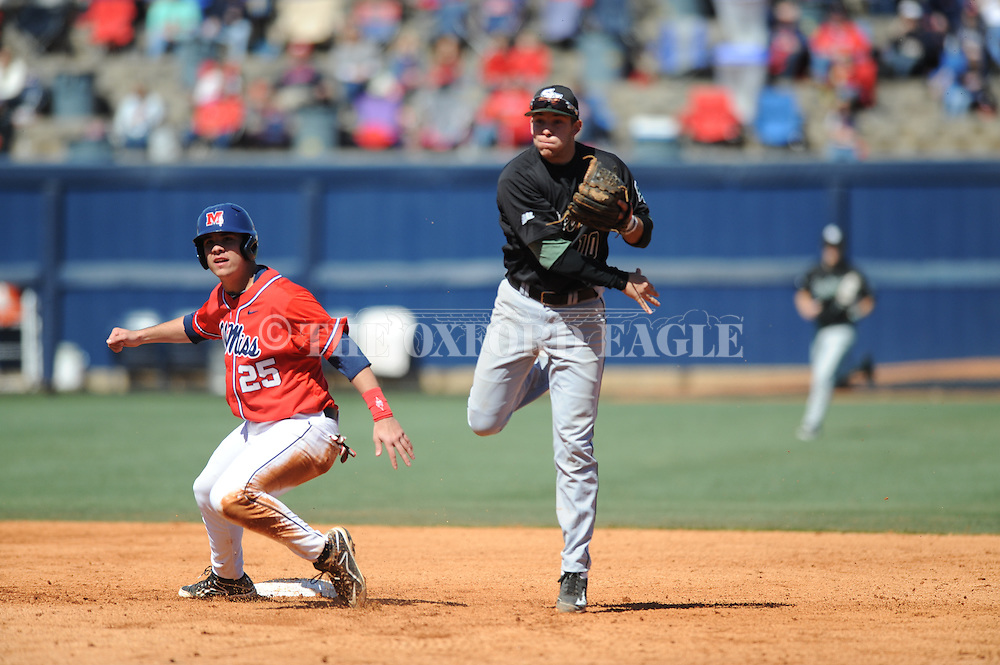 Ole Miss' Colby Bortles is forced out vs. Stetson's Tyler Bocock on a double play at Oxford-University Stadium in Oxford, Miss. on Saturday, March 7, 2015. Ole Miss won 8-3 in game 1 of a doubleheader to improve to 7-5.