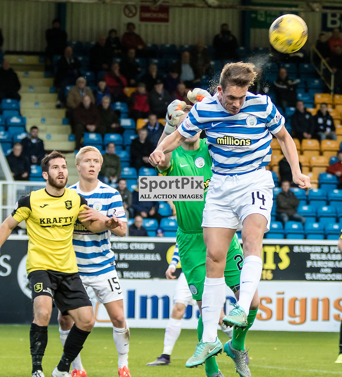 Morton's Michael Tidser clears the ball during the Greenock Morton FC V Livingston FC Ladbrokes Scottish Championship game played at Cappielow Park, Greenock on 7th November 2015; (c) BERNIE CLARK | SportPix.org.uk