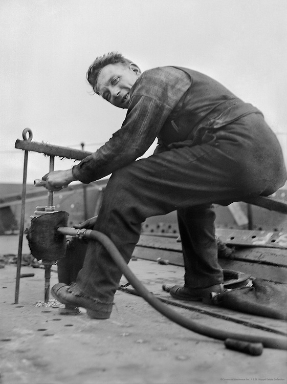 Worker Riveting, Cunard Lines, England, 1934