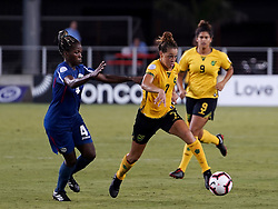 October 12, 2018 - Edinburgh, Scotland, United Kingdom - Edinburg, NC - OCTOBER 11: 2018.L-R Jessica Pupo Alvarez of Cuba and Chinyelu Asher of Jamaica during CONCACAF Women's Championship Group B match between Cuba against Jamaica at H-E-BPark Stadium, Edinburg,  on October 11, 2018  (Credit Image: © Action Foto Sport/NurPhoto via ZUMA Press)