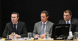 "Derek Bradley, left, Barry Davidson and Tony Stuart participating in a hot tub discussion at the Canterbury Earthquakes Royal Commission Hearings programme in Christchurch on the 249 Madras Street (CTV), Christchurch, New Zealand, Wednesday, July 25, 2012. Credit:SNPA / The Press, Stacy Squires  ""POOL"""