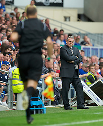 CARDIFF, WALES - Sunday, August 8, 2010: Cardiff City's manager Dave Jones stares out the assistant referee after the linesman disallowed a goal for off-side against Sheffield United during the League Championship match at the Cardiff City Stadium. (Pic by: David Rawcliffe/Propaganda)